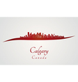 Calgary skyline in red vector image vector image