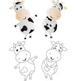 cartoon cute toy cow vector image vector image
