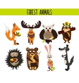 Cartoon Set of Cute Woodland and Forest Animals vector image vector image