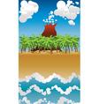 Cartoon volcano island2 vector image vector image