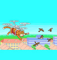 cat flying in the sky vector image vector image