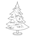 christmas furtree contours vector image