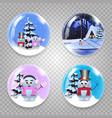 christmas new year round glass crystall ball vector image vector image