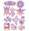 Colorful american aztec mayan symbols
