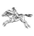 cowboy riding a horse western rodeo icon texas vector image vector image