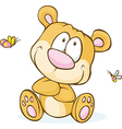 cute bear sitting isolated on white background vector image vector image