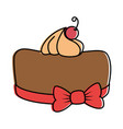 delicious pudding with cherry bakery product vector image