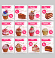 dessert cakes price cards set vector image vector image