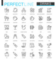 drinks thin line web icons set drink outline vector image vector image