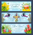 easter banner set with egg cake and flower cross vector image vector image