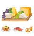european tasty food cuisine dinner food showing vector image
