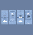 fish menu isolated on blue vector image vector image