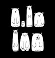funny white bears family sketch for your design vector image vector image