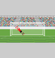 goalkeeper jumping to catch soccer ball vector image vector image