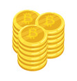 golden bitcoin digital currency a stack coins vector image