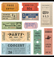 Grunge Ticket Set2 vector image vector image