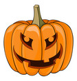 halloween pumpkin carved angry face colored vector image
