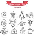 Hand draw icon set of Christmas vector image vector image