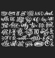 handwritten catchwords and ampersands set vector image