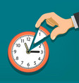 human hand holds clock with arrows vector image vector image