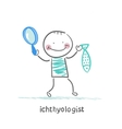 ichthyologist holding a magnifying glass and fish vector image