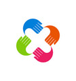 letter x hand fingers color logo icon vector image