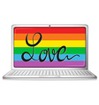 Love symbol on computer screen vector image vector image