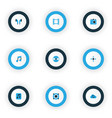 media icons colored set with video synchronize vector image