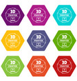 modeling 3d printing icons set 9 vector image vector image