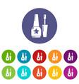 Nail polish icons set color