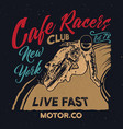 new york cafe racers clubmotorcycle cafe racer vector image vector image