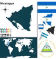 Nicaragua map world vector image vector image