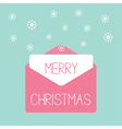 Pink envelope with snowflakes Love card vector image vector image