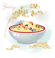Porridge and fruits in bowl isolated on white vector image