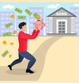 running businessman with piggy bank vector image