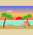 seascape sunset two palms and beach accessories vector image