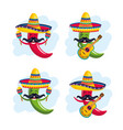 set chili peppers wearing hat with maracas and vector image