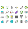 set multimedia icons vector image