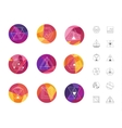 Set of colored geometric crystal circles in vector image vector image