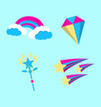 set of magic icon fantasy world of the unicorn vector image