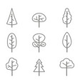 set of monochrome icons with trees vector image vector image
