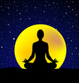 Silhouette of woman practicing yoga at night sky vector image vector image