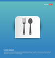 spoon and fork icon - blue sticker button vector image