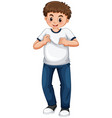 teenage boy in white t-shirt and blue jeans vector image