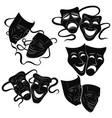 tragedy and comedy theater masks set collection vector image vector image