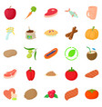 vegan icons set cartoon style vector image vector image