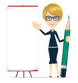 woman holding a pencil and pointing to a blank vector image vector image