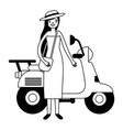 woman with bag standing near motorcycle vector image