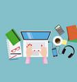 work desk business concept vector image vector image