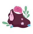 world mental health day girl human brain flowers vector image vector image
